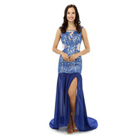 100% Original Pictures Blue Prom Dress Top Selling Mermaid Backless Chiffon Sleeveless Formal Party Gown Plus Size