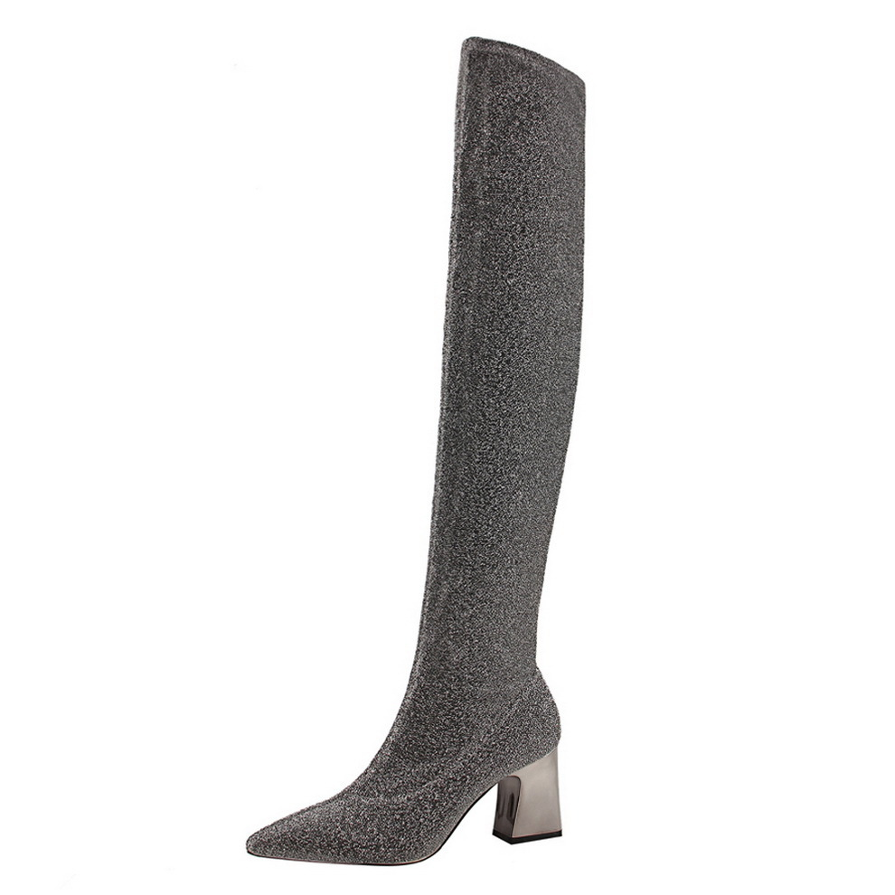 black silver glitter thigh high sock boots women designer metal thick heel  sequined fabric over the knee boots women botas y794-in Over-the-Knee Boots  from ... 0ea383e818b4