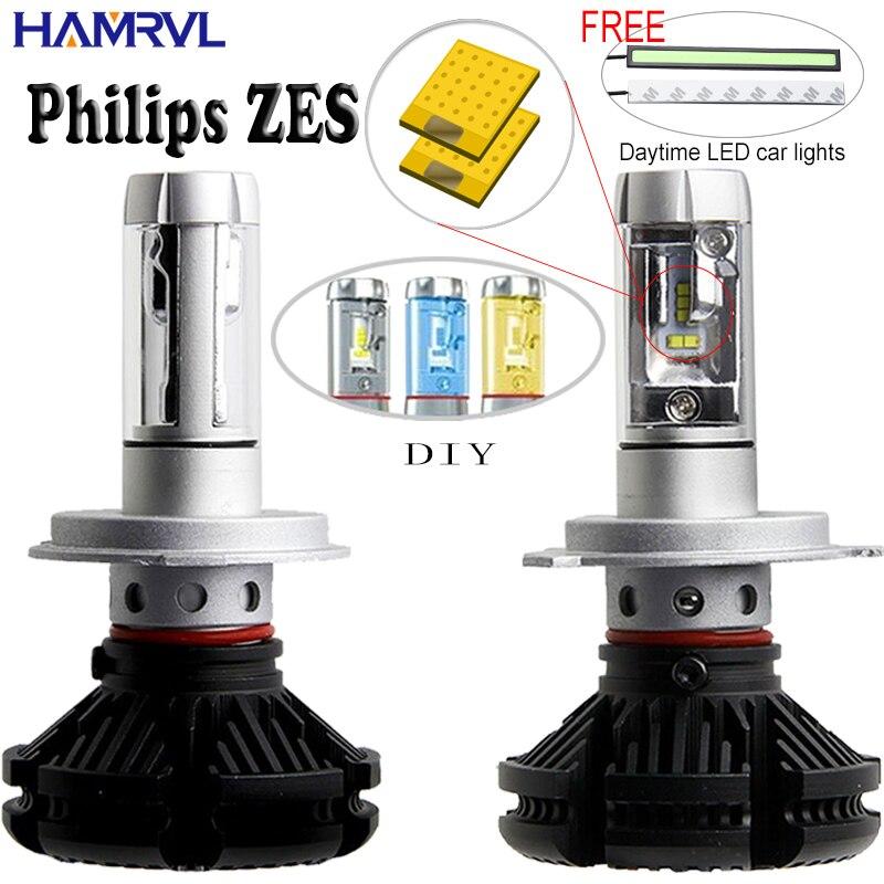 X3 H1 H3 H4 H7 H11 9005 9006 Voiture LED Phares Ampoules 50 W 6000LM avec Philips ZES Puces 6500 K Voiture A MENÉ Projecteur Recherche De Lumière