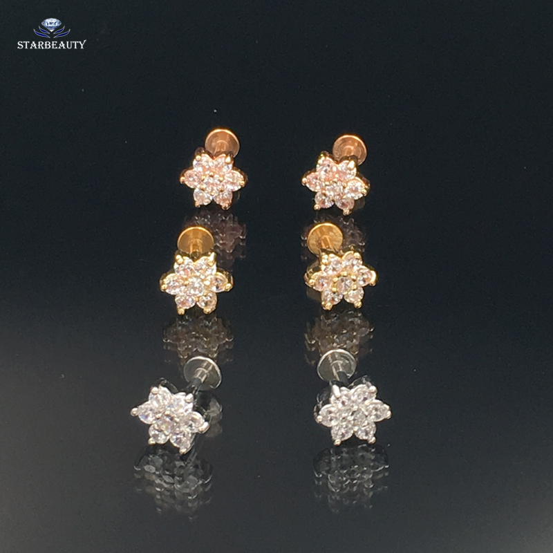 Hot 1.2*6mm Classic Flower Zircon CZ Gem Labret Lip Bar Ring Piercing Ear Cartilage Trag ...
