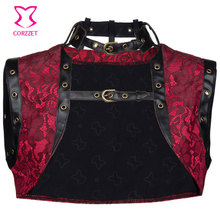 Vintage Red Brocade and Faux Leather Sleeveles Steampunk Corset Jacket Coat Plus Size Women Bolero Gothic