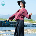 LinenAll женская оригинальный дизайн красный и черный поливать марли ткань Китайский стиль осень и зима короткая куртка женская пальто XT