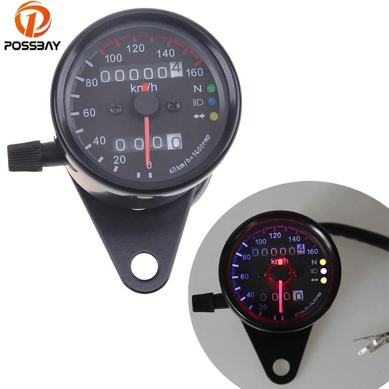 Universal Black Motorcycle Odometer Speedometer Dual Gauge LED Backlight Signal Light Digital