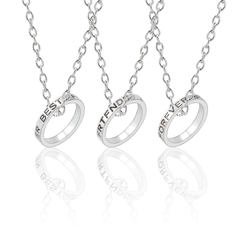 Circle Rings Pendant 3 Pcs//set Best Friends Forever Necklace Link Chain