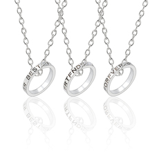 3 Pcs/set Best Friends Forever Necklaces Silver Round Simple Pendant Necklace For Girls Women Sisters BFF Friendship Jewelry