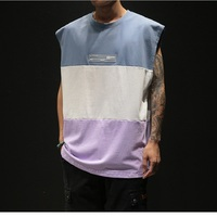 Fashion Casual Cotton Stitching Large Size Summer Men's Clothing Vest Sleeveless Fitness Men's Vest Bodybuilding
