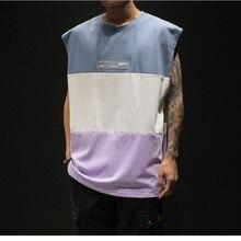 Fashion Casual Cotton Stitching Large Size Summer Mens Clothing Vest Sleeveless Fitness Bodybuilding