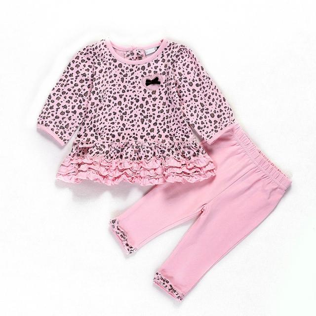 Americana Europea del envío libre ropa de bebé niña 100% algodón de color rosa Leopardo de manga larga T-shirt + pants de la ropa de Bebé 2 sets