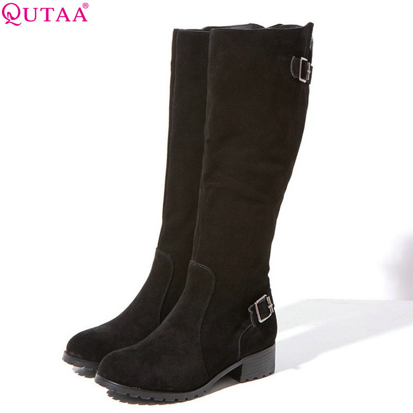 QUTAA 2019 Women Mid Calf Boots Square Heel Srcub Winter Shoes Platform Round Toe Fashion Women Motorcycle Boots Big Size 34-40 qutaa national style winter women shoes genuine leather flat heel mid calf boot zipper women motorcycle snow boots size 34 40