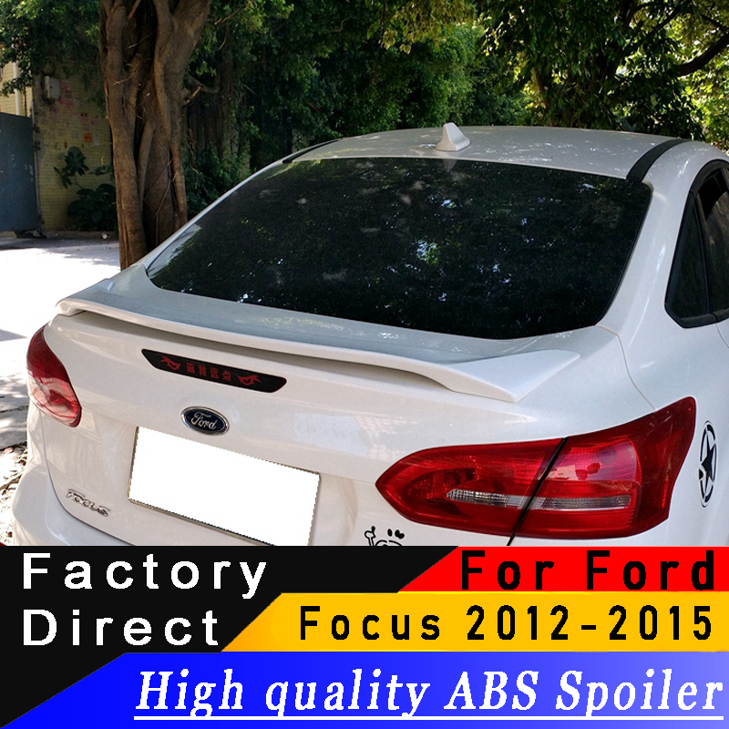 Pour Ford Focus berline 2012 à 2015 aileron arrière de haute qualité ABS aileron d'aile arrière apprêt bricolage n'importe quelle couleur spoiler pour Focus