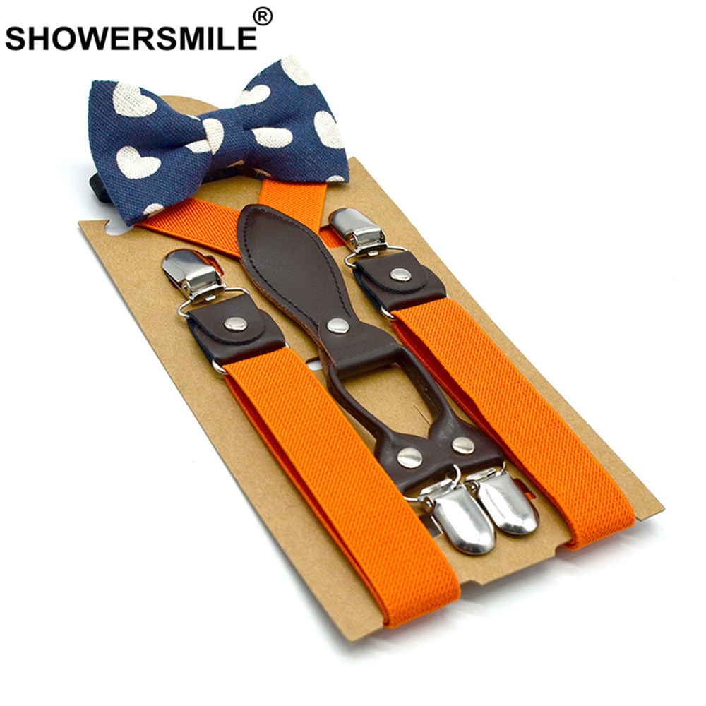 SHOWERSMILE British Style Boys Suspenders With Bow Tie Orange Yellow Kids Suspenders Solid Wedding Braces For Children 65cm*2.5