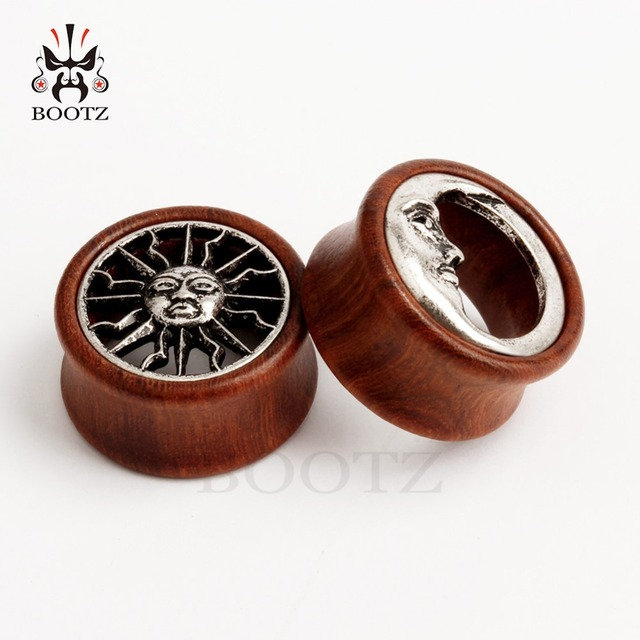 Купить серьги туннели kubooz асимметричные деревянные для пирсинга