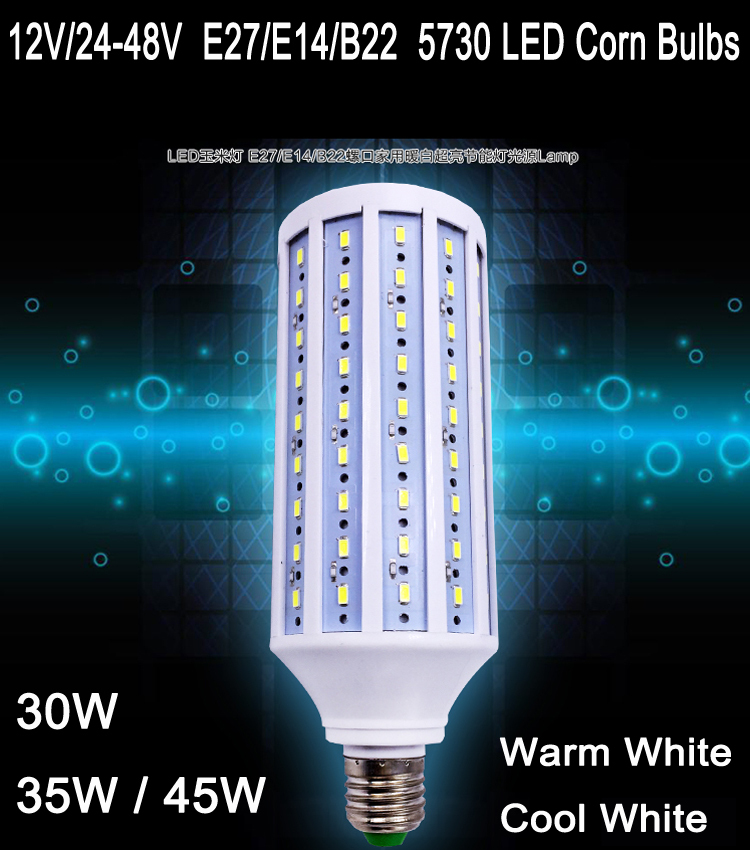 2pcs/lot Free shipping 12V/24V-48V E27 E14 B22 30W 35W 45WLED 12v 24V corn bulbs lamp smd 5730 LED corn light free shipping 2014 new 2pcs 42mm festoon c10w plasma cob smd led canbus sv8 5 dome map trunk lights bulbs free shipping
