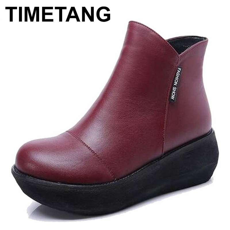 TIMETANG Women winter shoes womens ankle boots the new 2 color fashion casual fashion genuine leather flat warm woman snow bootTIMETANG Women winter shoes womens ankle boots the new 2 color fashion casual fashion genuine leather flat warm woman snow boot