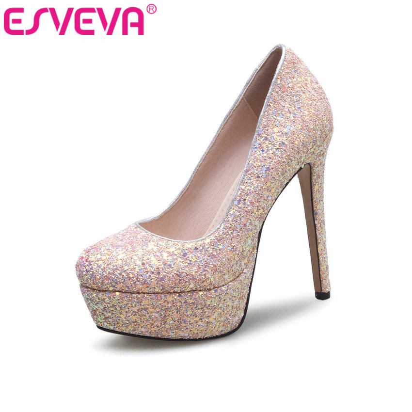 ESVEVA 2017 white platfrom Thin Heel Women Pumps sexy Women Shoes bling round toe Pumps pink thin heel Wedding Shoes Size 34-39 esveva 2017 women pumps night club sexy bling platform high heel wedding shoes thin heel spring autumn peep toe pumps size 34 43