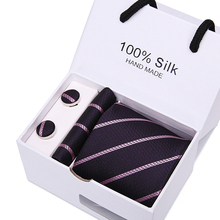 7.5 Arrow Paisley Striped Mans Tie Wedding Mens Neckties Gravata Bussiness Men Handkerchief Cufflinks Gift Box Packing