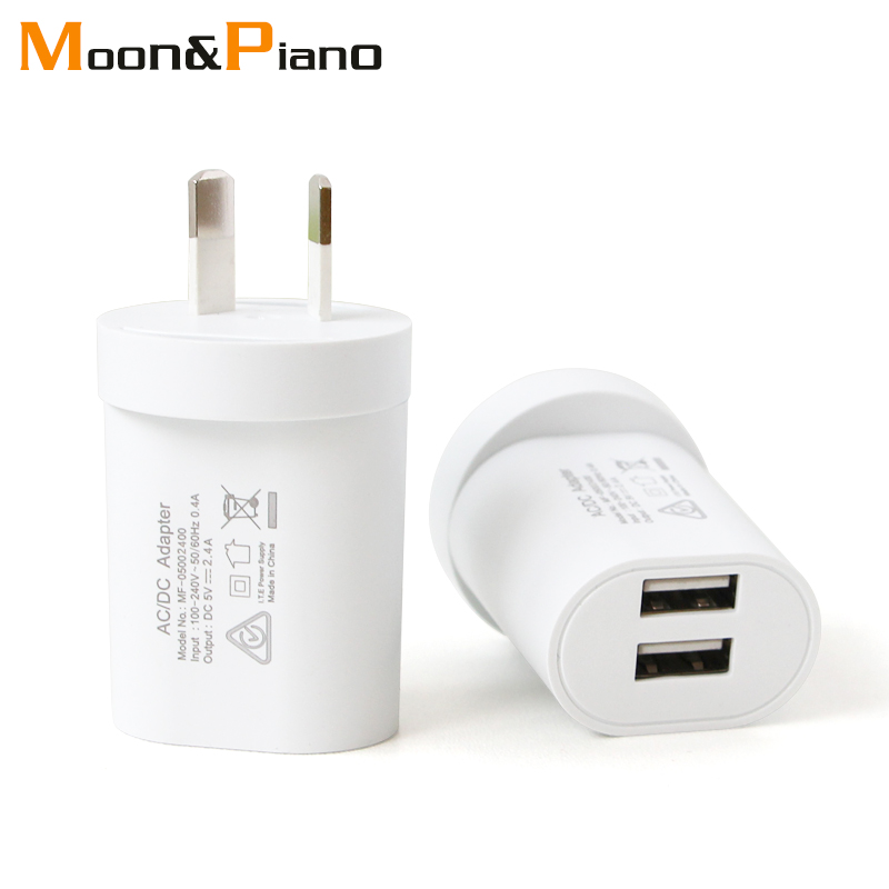 1PC AU Adapter Plug 5V2.4A Dual USB Charger For Smart Mobile Phone AC/DC Adaptor Travel in Australia New Zealand Argentina
