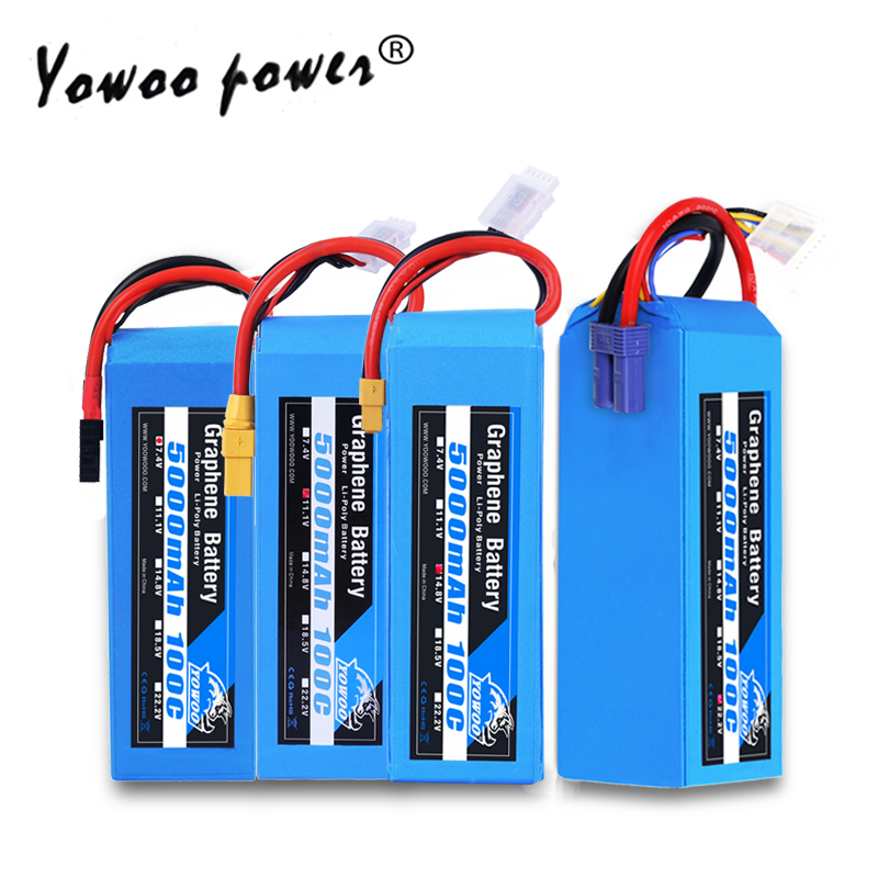 RC Graphene Battery Lipo 2S 7.4V 3S 11.1V 4S 14.8 5S 18.5V 6S 22.2V 5000mAh 100C XT60 XT90 for RC Car Helicopter image