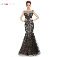 [Clearance Sale] Prom Dresses Women Elegant Ruched Bust Wedding Events Long Lacey Fishtail Sexy 2017 Ever Pretty HE08471BK