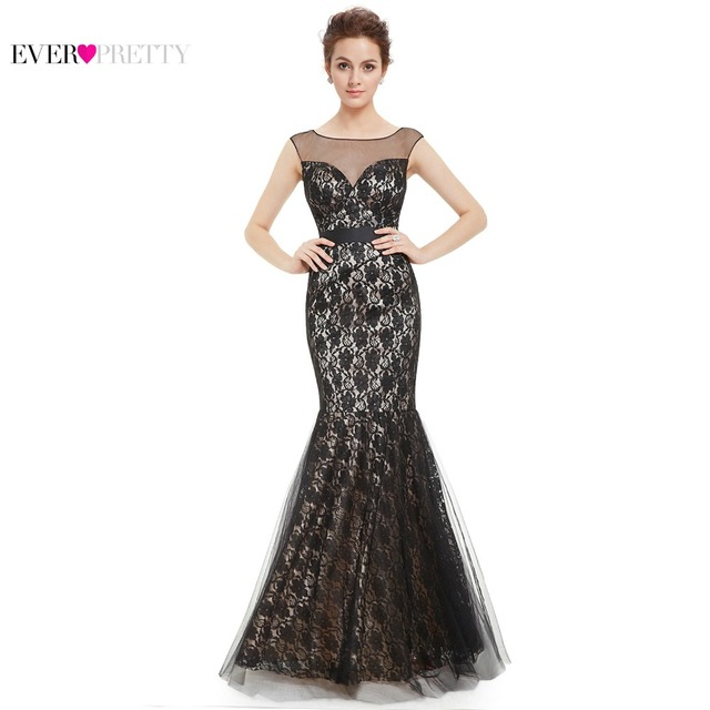 Clearance Sale  Prom Dresses Women Elegant Ruched Bust Wedding Events Long  Lacey Fishtail Sexy 2017 Ever Pretty HE08471BK 151efca0c965