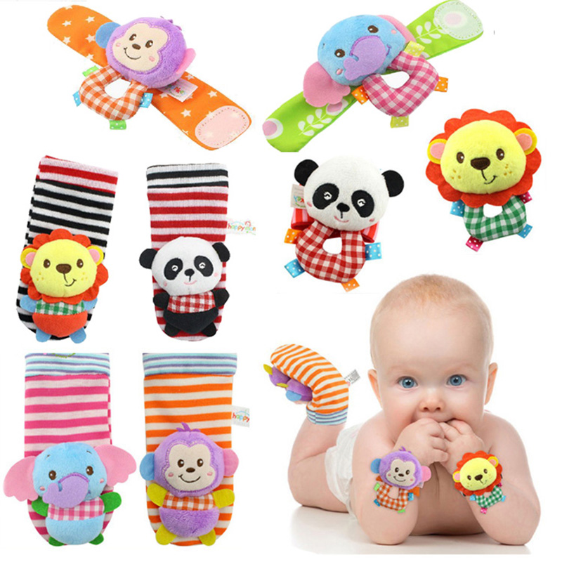 Baby Rattle Cotton Plush Stuffed Wrist Socks Set Rattle Toy For 0-24 Months Stereo Cute Cartoon Animals Kids Toys