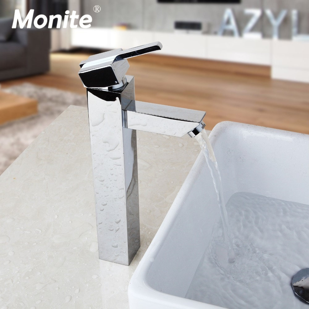 Bathroom Faucet Hot & Cold Water Mixer Taps Deck Mounted Bathroom Basin Sink Taps Chrome Brass Polish Kitchen Sink Faucet new design deck mounted bathroom sink faucet hot and cold water bathroom sink faucet chrome