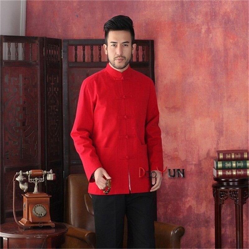 Offre spéciale rouge hommes Tang costume classique Style chinois haut caché Dragon veste bouton manteau livraison gratuite S M L XL XXL XXXL
