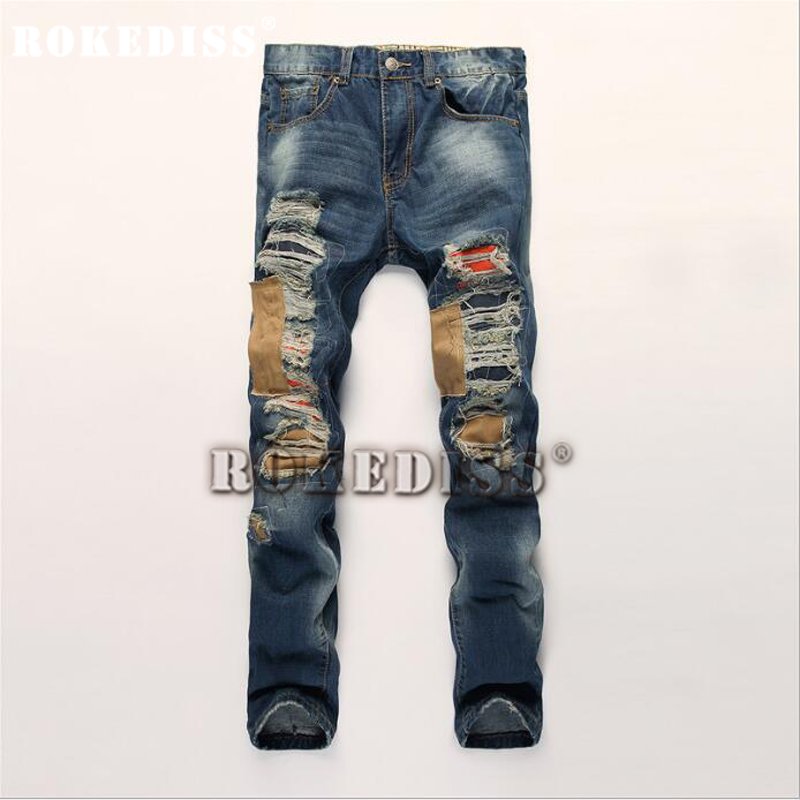 цена на mens New light blue cloth personality Metrosexual hole patched brand homme straight slim denim trousers ripped for jeans dsq B99