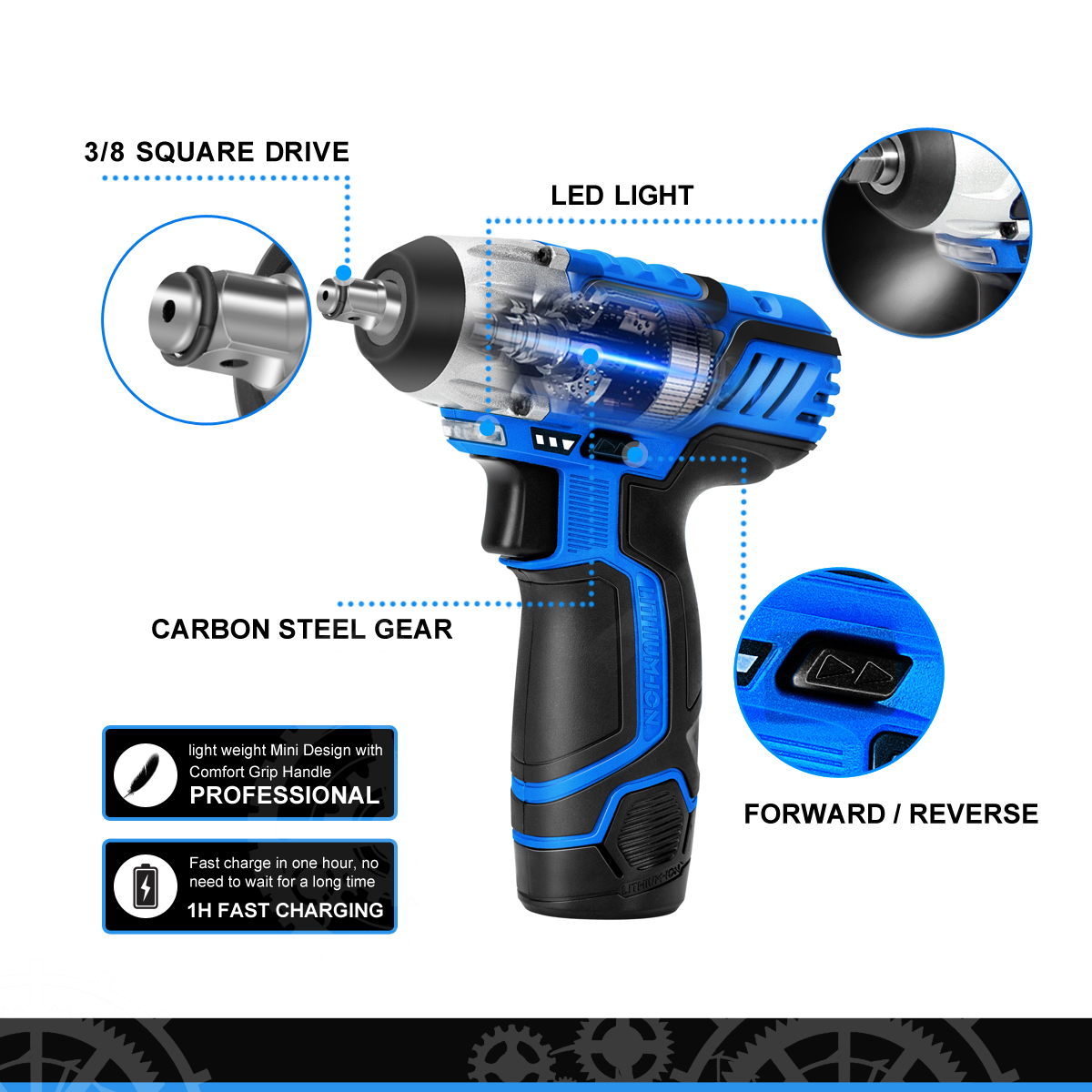 Image 3 - PROSTORMER 12V Electric Wrench 100NM Torque 3/8 inch Cordless Wrench 2000mAh Lithium Rechargeable Battery Car Repair Power Tool-in Electric Wrenches from Tools on