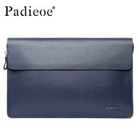 Padieoe Luxury Genuine Cowhide Leather Day Clutches Fashion Durable Handbag Deluxe Business Man Cluthes Bag