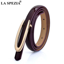 LA SPEZIA Women Thin Leather Belt Coffee Smooth Buckle Belt Ladies Patent Real Leather Cowhide Brand Narrow Belts For Dresses цена и фото