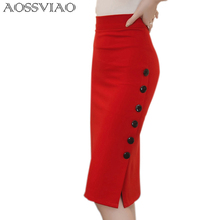 2016 Spring Sexy Chic Pencil Skirts Office Look Mid Waist Mid-Calf Solid Skirt Casual Slim Hip Placketing plus size skirt S~5XL leather look pencil skirt in gold