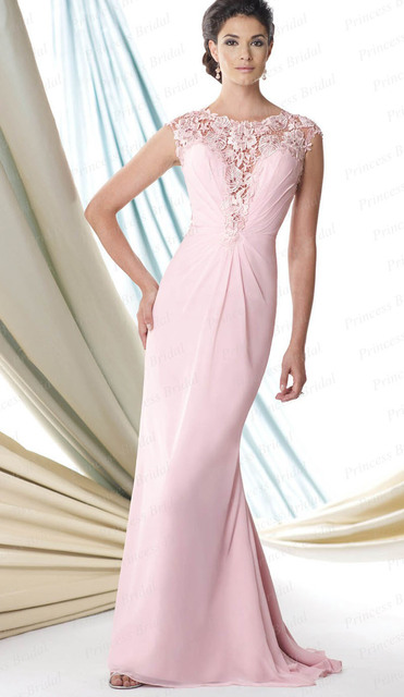 2017 Mãe Dos Vestidos de Noiva Sereia Cap Mangas Rosa Chiffon Lace Longo Mãe Vestidos Vestidos de Noite Para Casamentos