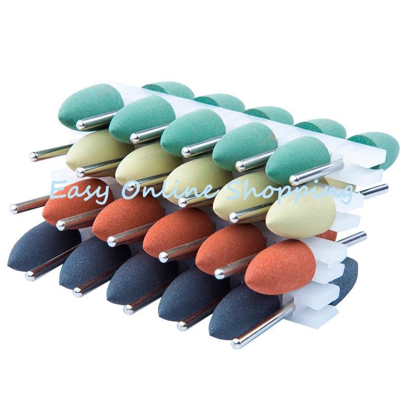 100 pièces 2.35mm tige en caoutchouc Silicone polisseuse meulage tête tranchante pour le blanchiment des dents polissage enlever tache outil 4 couleurs