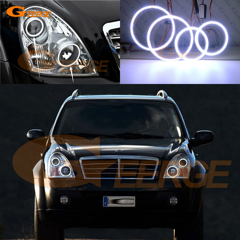 For Ssangyong Rexton 2006 2007 2008 2009 2010 2011 2012 Excellent angel eyes Ultra bright illumination COB led angel eyes kit
