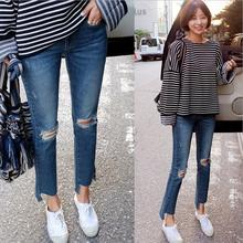2017 новая весна Корейских женщин Тонкий высокой талией джинсы девять брюки отверстия неправильной edgesdenim брюки S281