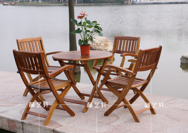 Yixuan Rattan Outdoor Furniture Wood Folding Tables And Chairs Terrace Lounge Bar Set Patio Table