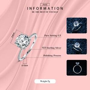 Image 3 - 2019 Classic Luxe Real Solid 925 Sterling Zilveren Ring 3Ct 10 Hearts Arrows Zirkoon Bruiloft Sieraden Ringen Engagement Voor Vrouwen