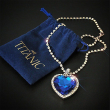 Оптом Титаник, сердце океана голубое сердце любовь навсегда кулон ожерелье+ бархатная сумка
