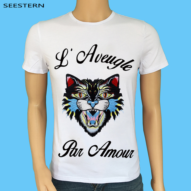 3d953f15b Seestern Brand clothing blind for love men t shirt embroidery leopard t  shirt fashion snake hip hop tiger tops tee