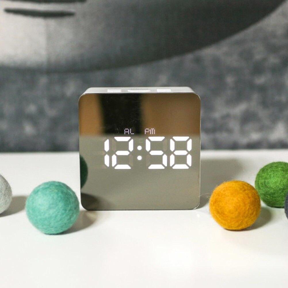 1 Pcs Digital Alarm Clock With Large Mirror LED Display Decorative Alarm Temperature FBE3
