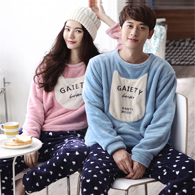 Winter couples coral velvet pajamas women long - sleeved home suit suit Fall Flannel Fall suit