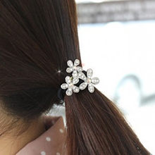 Hot Korean jewelry wholesale Crystal three flower head flower hair rope temperament ball hair ring Tousheng Free shipping(China)