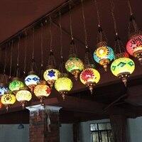Bohemia Кофе Ресторан подвесные светильники цвет освещения стеклянный мозаика творческий Турции одной головы небольшой кулон лампы ZA BXY21