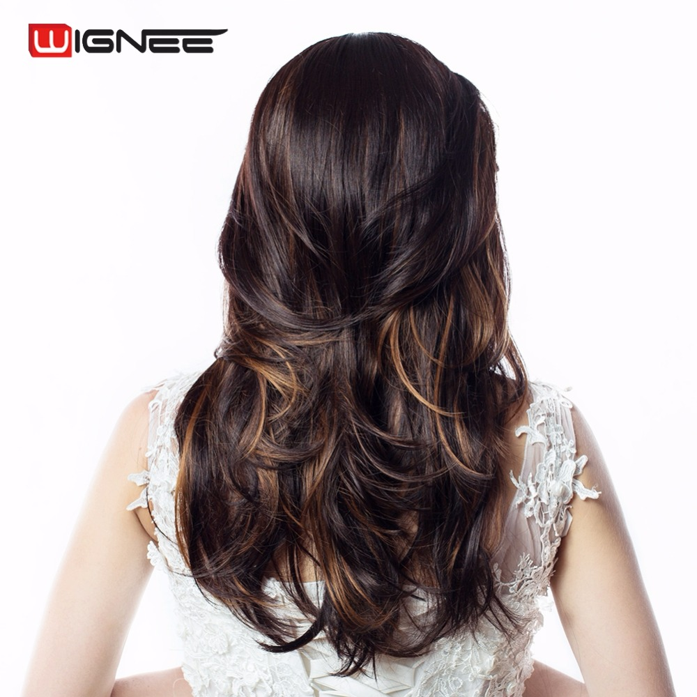 Wignee Mixed Color Wig With Bangs Dark Coffee Brown Long Body Wave