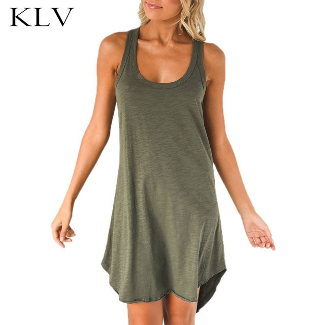 Womens Summer Sleeveless Racerback Midi Long Swing Tank Dress Plain Solid Color Sexy Low Cut Neck Asymmetric Hem Loose Vest