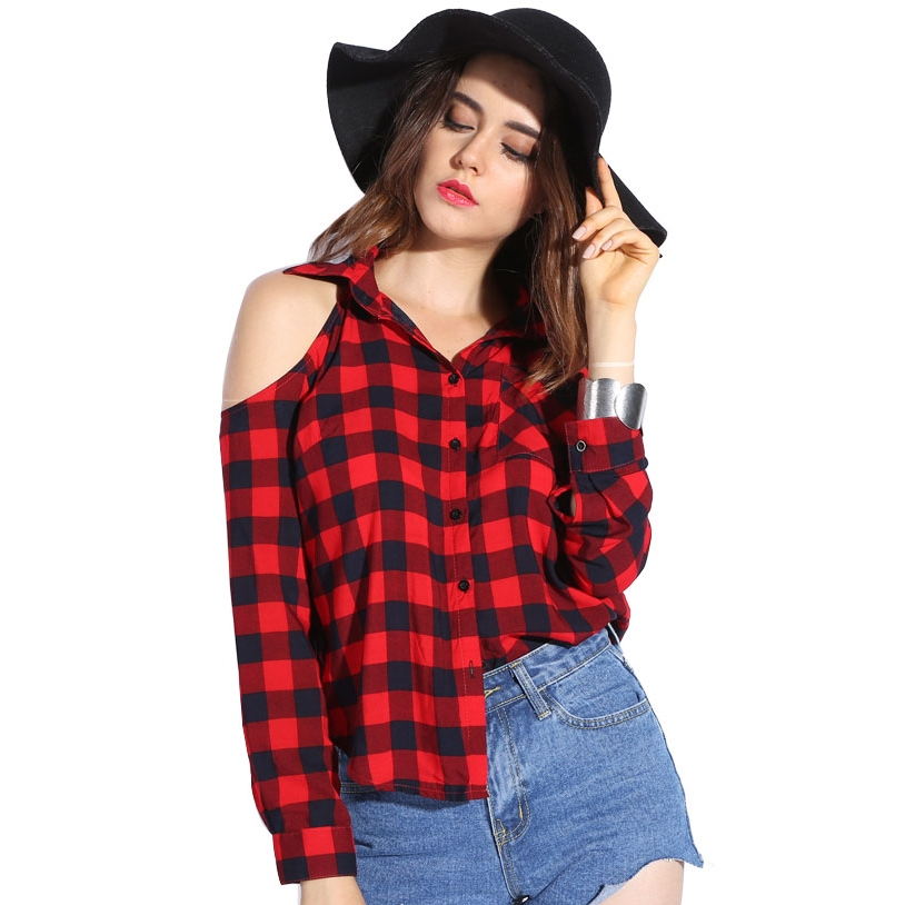 Red women plaid shirt sexy off shoulder tops cotton Womens red tartan plaid shirt