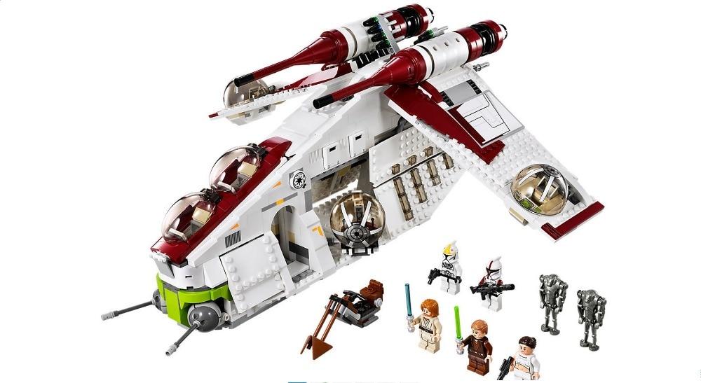 ФОТО New bricks 05041 1175pcs Star War Series The The Republic Gunship Set  Educational Building Blocks Bricks Toys 75021