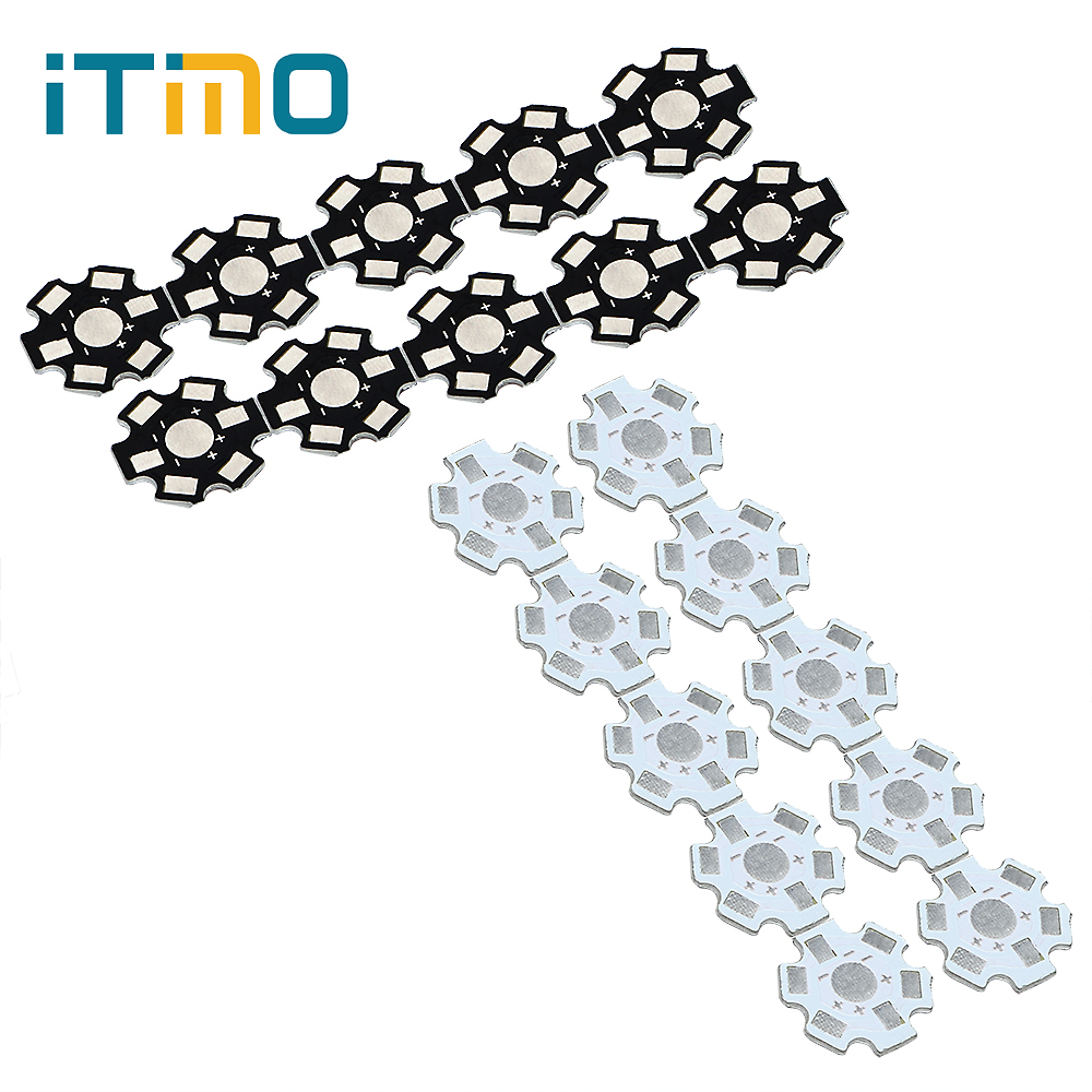 ITimo 10pcs Heatsink Star Kit LED Aluminum Base Plate PCB Board Cooling Heat Sink Substrate 20 mm Black White 1W 3W 5W DIY электронные компоненты 1w 3w 24leds pcb diy 10