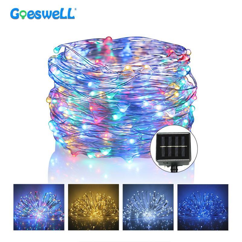 10m Solar Led String Lights Outdoor Waterproof Led Copper